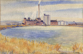 Watercolour painting of Raymond factory