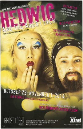 Ryan Alexander McDonald is Hedwig and the angry inch : October 23 - November 1, 2014 :  The Cobalt