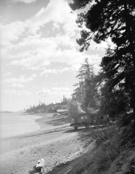 [View of cabins on rafts on the beach at] Oyster Bay