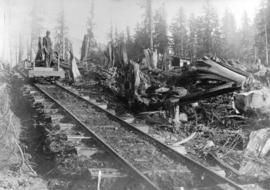 [A flat car on rails near Buntzen Lake]