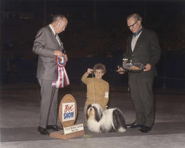 Best in Show award being presented at 1973 P.N.E. All-Breed Dog Show [Lhasa Apso?]