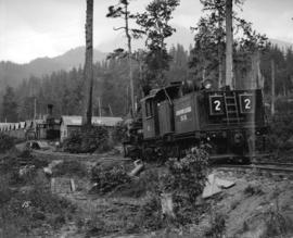 "Green Point Logging Co. Ltd. [""Climax"" type locomotive #2 at camp]"