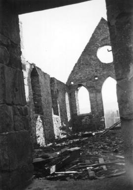 [Interior of Comeaken Indian Reserve Church during restoration]