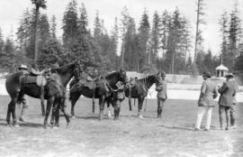 [Inspection of mounted police by Colonel Marham and Captain Clutterbuck at Hastings Park ]