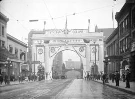 [Italian arch at Hastings and Homer Streets, erected for visit of Duke and Duchess of Connaught]
