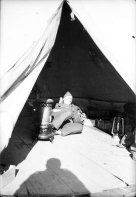 [Man in tent at] Camp Borden