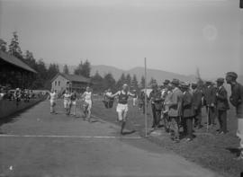 Finish line of men's foot race