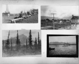 Vancouver scenes including tennis courts, ships in harbour, mountain views and West End homes