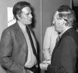 "Charlton Heston [and Hugh Pickett at] ""Billy Bishop"" Playhouse"