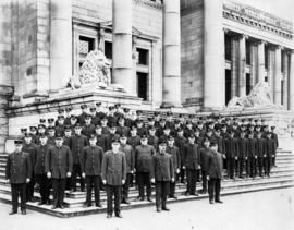 Vancouver Fire Department personnel on steps of court house