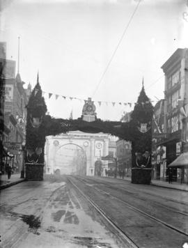 [Great Northern Railway arch at Hastings Street between Hamilton and Homer Street, erected for vi...