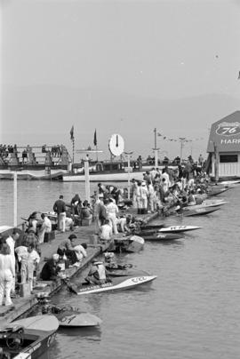 [Crews prepare speed boats for race on Harrison Lake]