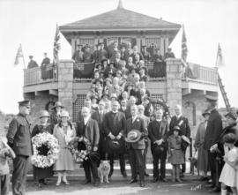 [Group portrait of City Councillors and other dignitaries at opening of Memorial Park]