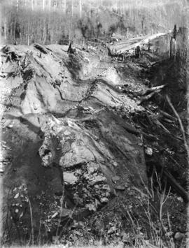 [Construction of penstock on hillside behind Buntzen Lake Power Plant number one]