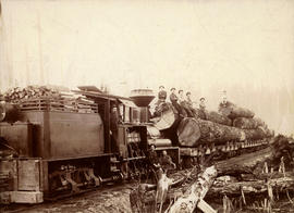 [Sultan Railway and Timber Company train with logs and crew]