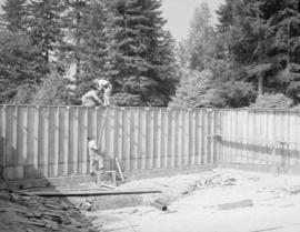 Canadian Forest Products - swimming pool, North Vancouver, showing plywood forms