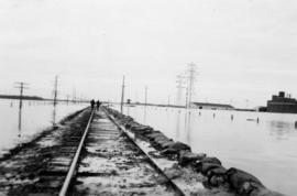 May 1950, two days before water covered [railroad] tracks