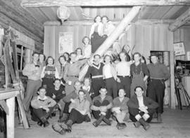 [Group of skiers in Enquist Lodge, Mt. Seymour, B.C.]