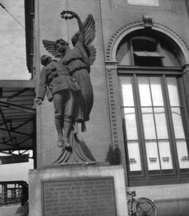 [C.P.R. war memorial outside the train station on Water Street]