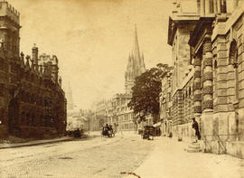 [Unidentified street with cathedral in the background]