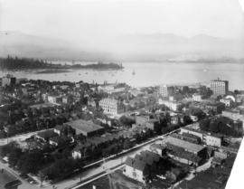 [Birds-eye view of the west-end, western business section of downtown and Stanley Park]