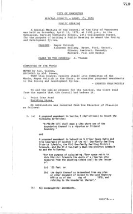 Special Council Meeting Minutes : Apr. 15, 1978