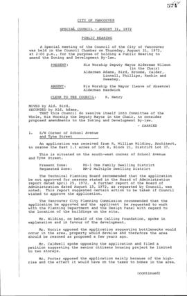 Special Council Meeting Minutes : Aug. 31, 1972