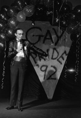 Malcolm Crane of the Pride Community Foundation officially opens 1992's Pride Week celebrati...
