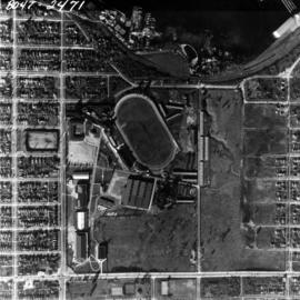 Aerial photo, vertical, Exhibition Park, Vancouver