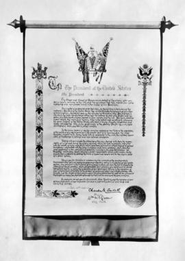 Illuminated welcome proclamation to President and Mrs. Harding on their visit to Vancouver, signe...