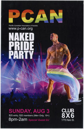 Pacific-Canadian Association of Nudists : naked pride party : Sunday, Aug. 3 : Club 8X6, 1775 Har...