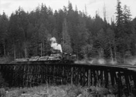 Green Point Logging Co. Ltd. [train on trestle with sprinkler system]