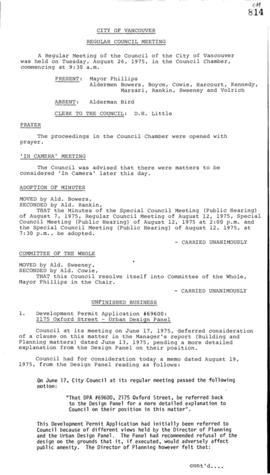 Council Meeting Minutes : Aug. 26, 1975