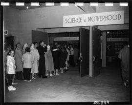 Line-up at entrance to Science and Motherhood exhibits