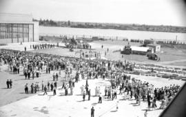 [View of crowds at the launch of the first patrol bomber from the Boeing plant on Sea Island]