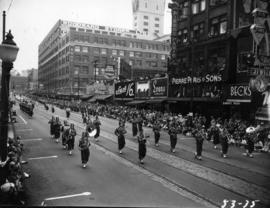 Marching Shriners band in 1953 P.N.E. Opening Day Parade
