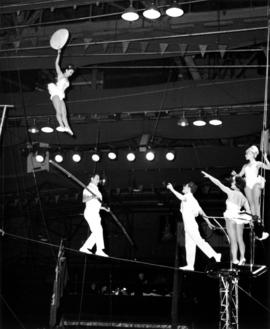 Acrobatic high wire act in Moscow Circus performance