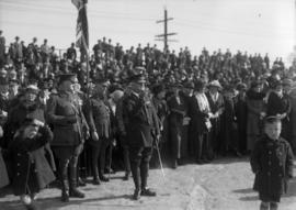 Crowd of people, men in uniform