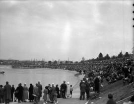 Onlookers surrounding Kitsilano Pool