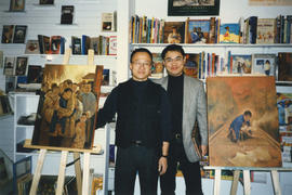 Paul Yee and illustrator Harvey Chan at launch for Ghost Train at Another Story Bookstore, Toronto