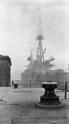 "Battle cruiser ""Indomitable"" in dry dock, Glasgow"