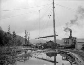 Pacific Mills [logging and donkey engines on the] Queen Charlotte Islands