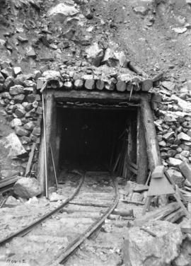 [Tracks leading into partially constructed tunnel for Buntzen Lake Power Plant number one]