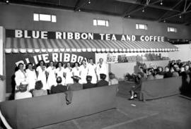 Blue Ribbon display of tea and coffee products