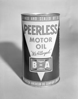 [Can of Peerless Motor Oil, refined by the B.A. Oil Company, Ltd.]