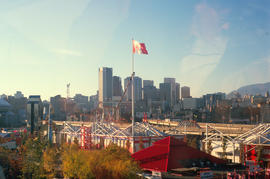 [Expo 86, Canada flag and view looking toward downtown Vancouver]
