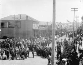 [Soldiers assembled for Dominion Day parade at Cordova Street and Abbott Street]