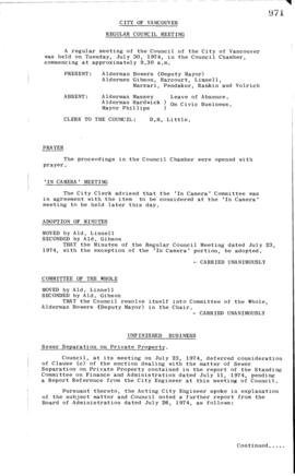Council Meeting Minutes : July 30, 1974