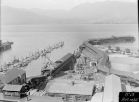 Powerhouse construction - overview of site and dock and base of chinmey