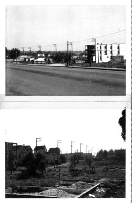 Two photos: looking south east from corner of Keefer & Heatley; looking south west from corne...